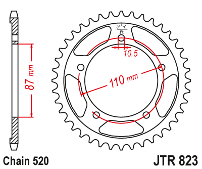 JTR823 Black Edition Induction Hardened ZBK Motorcycle Sprocket 39 Teeth (JTR 823.39)