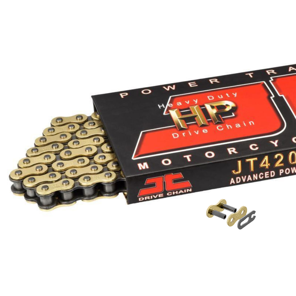 Motorcycle Chain JT High Performance Heavy Duty Gold & Steel 420 HPGB 124 SL