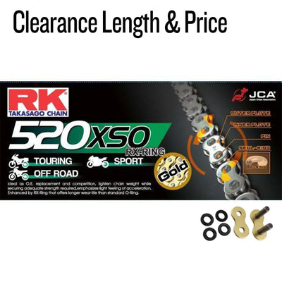 RK Gold HD RX-Ring Motorcycle Bike Chain 520 XSO 92 Links with Rivet Link