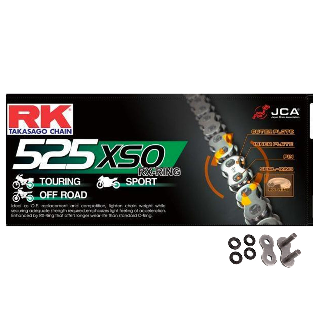 RK Black HD RX-Ring Motorcycle Bike Chain 525 XSO 118 Links with Rivet Link
