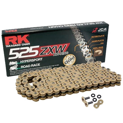RK Gold Ultra-HD XW-Ring Motorcycle Bike Chain 525 ZXW 112 Links with Rivet Link