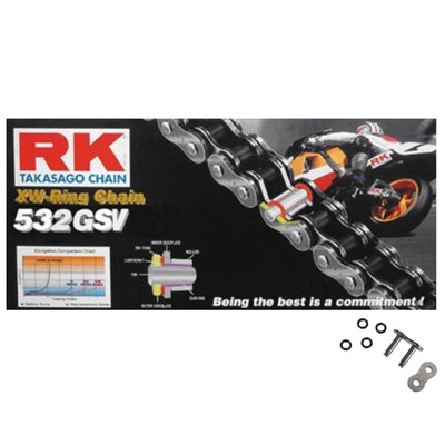 RK 532 GSV Silver 104 Link XW-Ring Super Heavy Duty Motorcycle Chain