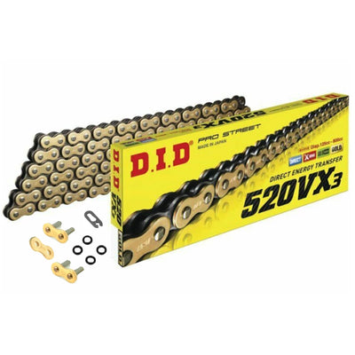 Motorcycle Chain DID X-Ring Gold 520 VX3 118 Split Link & Rivet Link