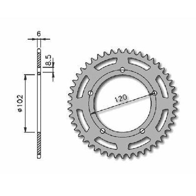IGM Black Rear Sprocket fits Aprilia RS 50 46T