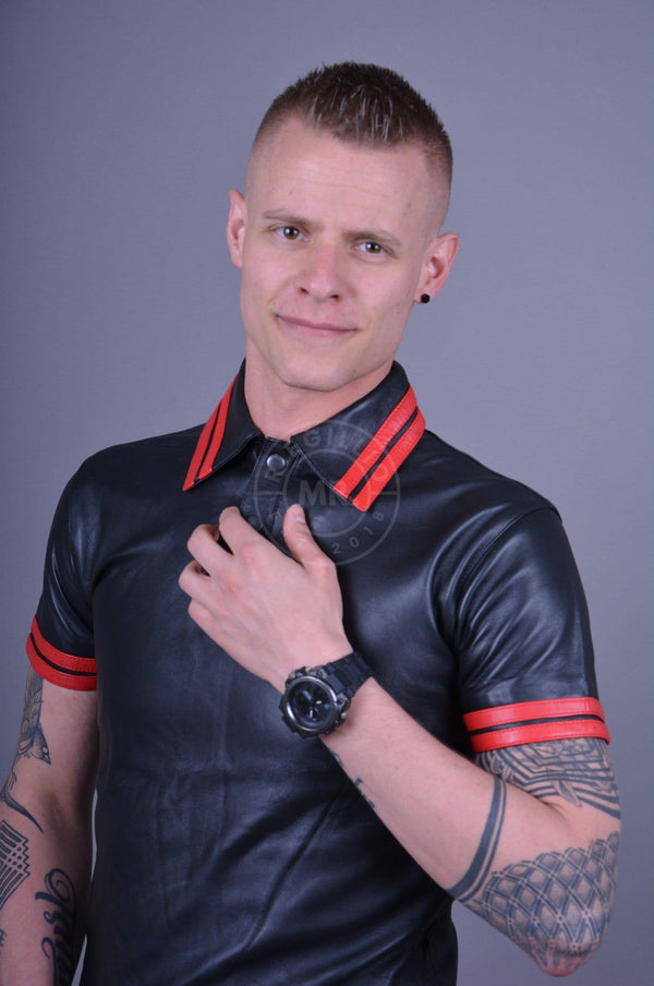 Black Leather Polo - RED STRIPES