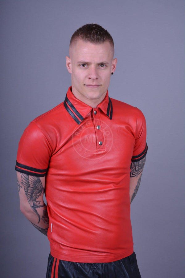 Red Leather Polo - BLACK STRIPES