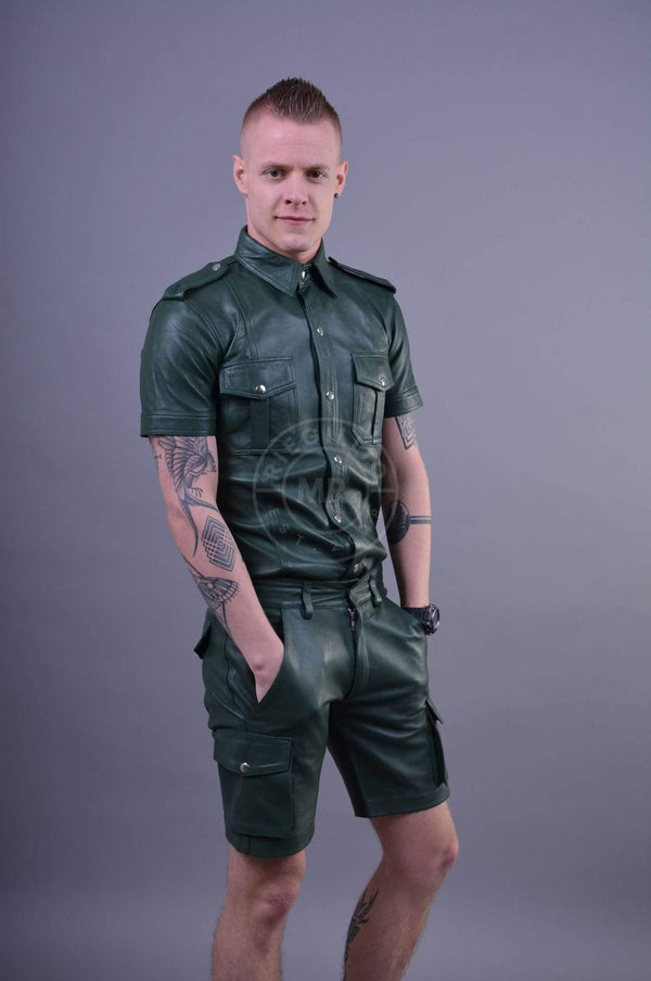 Army Green Leather Shirt