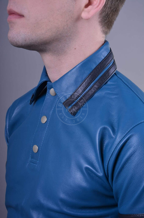 Jeans Blue Leather Polo - BLACK STRIPES