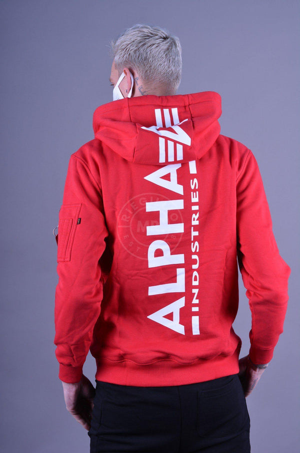 Alpha Industries Back Print Hoody Speed Red Hoodie Alpha Industries