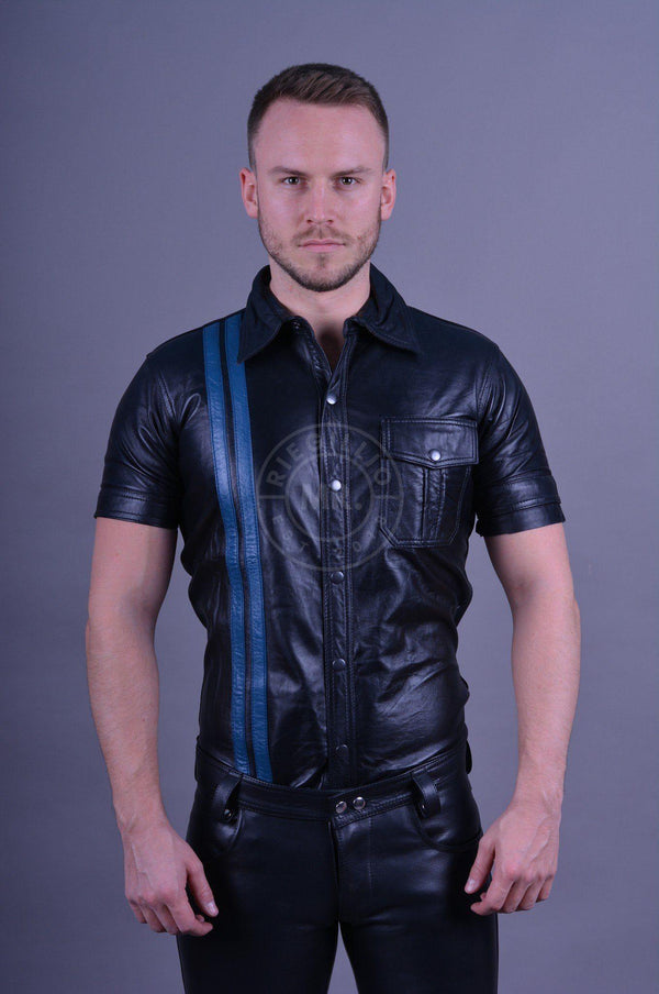 Black leather shirt blue stripes leather shirt Mr Riegillio