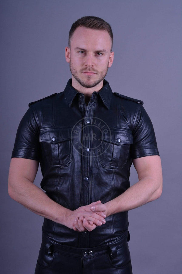Black leather shirt leather shirt Mr Riegillio