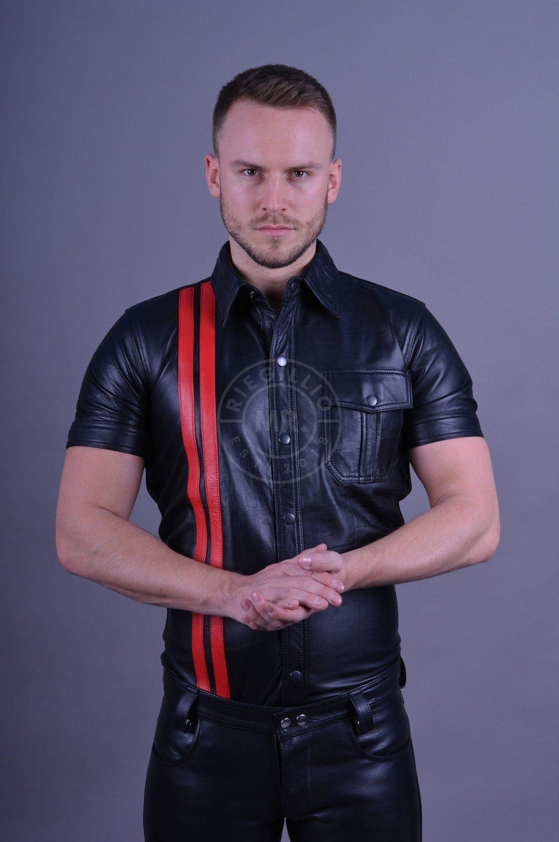 Black leather shirt red stripes leather shirt Mr Riegillio