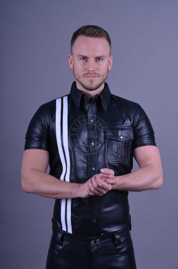 Black leather shirt white stripes leather shirt Mr Riegillio