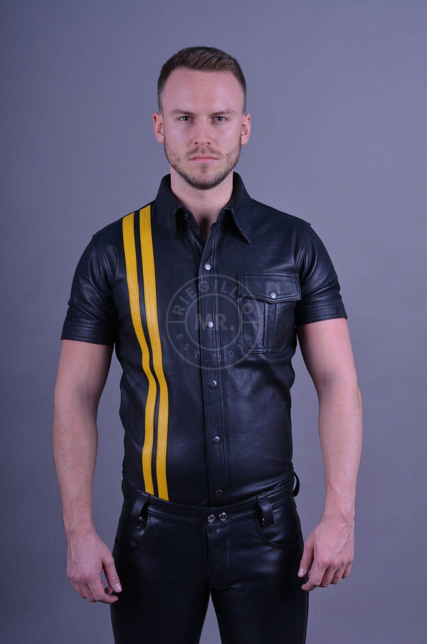 Black leather shirt yellow stripes leather shirt Mr Riegillio