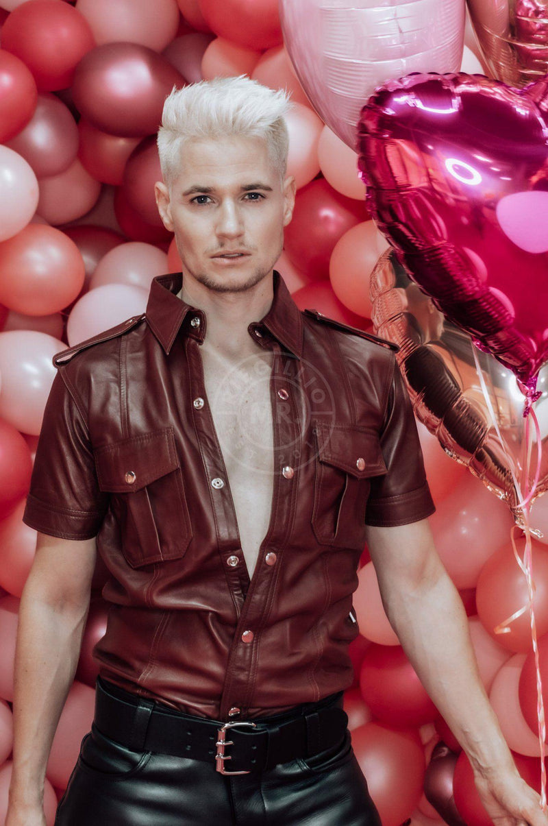 Burgundy Leather Shirt leather shirt Mr Riegillio
