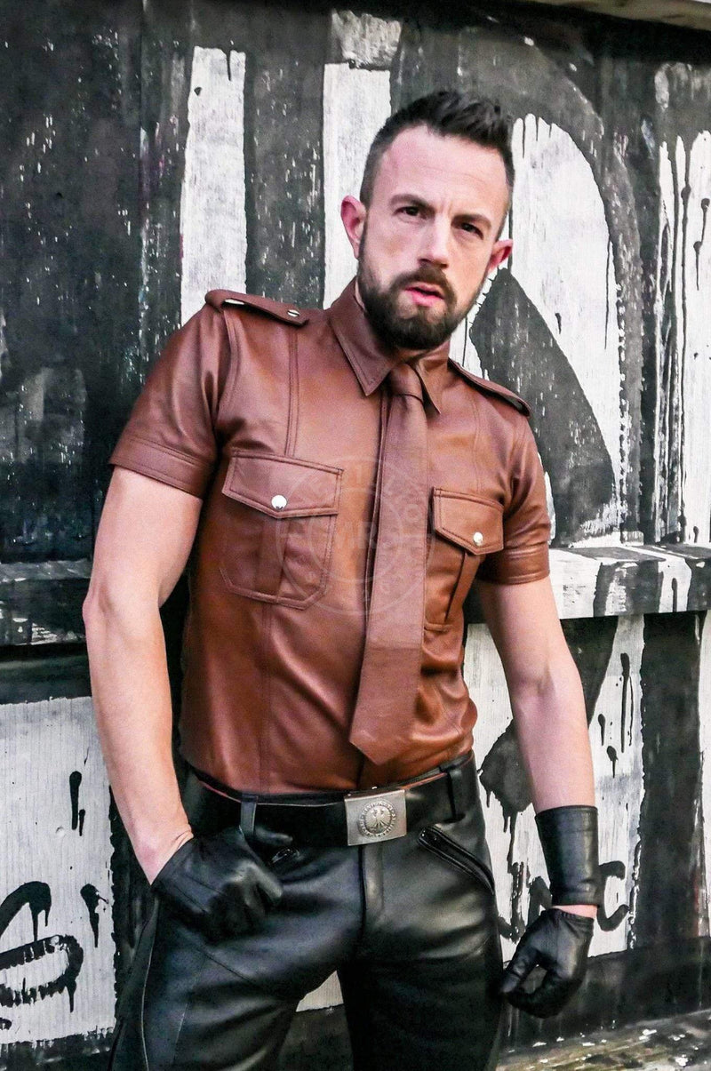 Cinnamon Brown Leather Shirt leather shirt Mr Riegillio