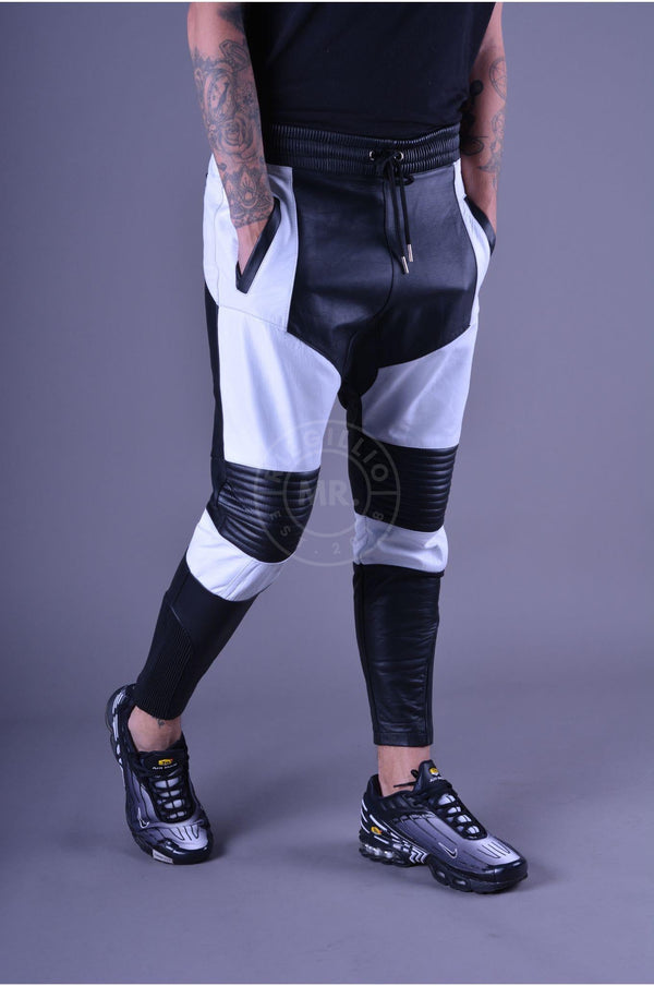 Coloured Leather Jogger Black&White Pants Mr Riegillio