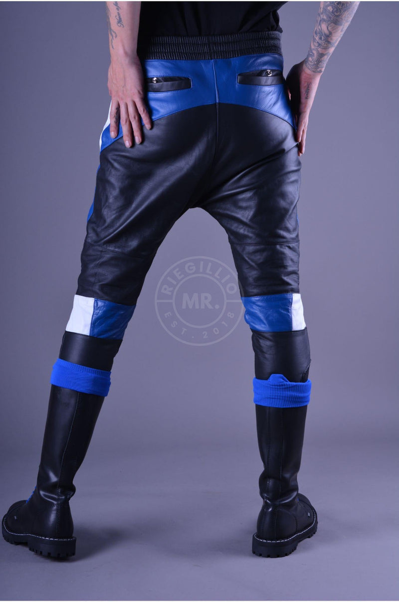 Coloured Leather Jogger blue Pants Mr Riegillio
