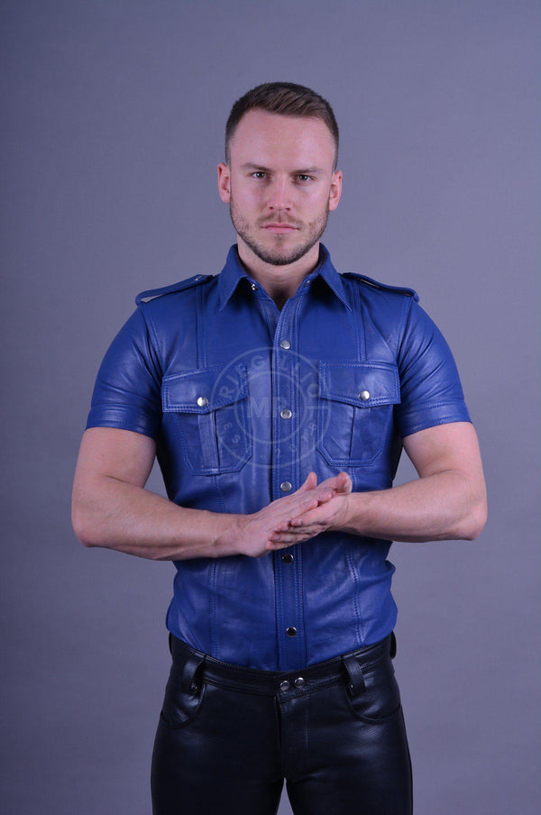 Dark blue leather shirt leather shirt Mr Riegillio