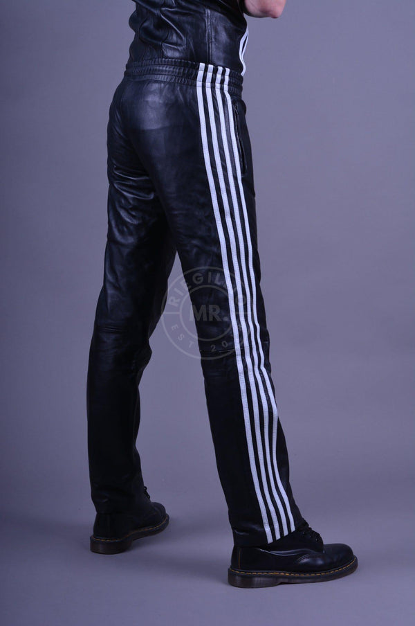 Leather 4 stripe Black - white stripes Pants Mr Riegillio