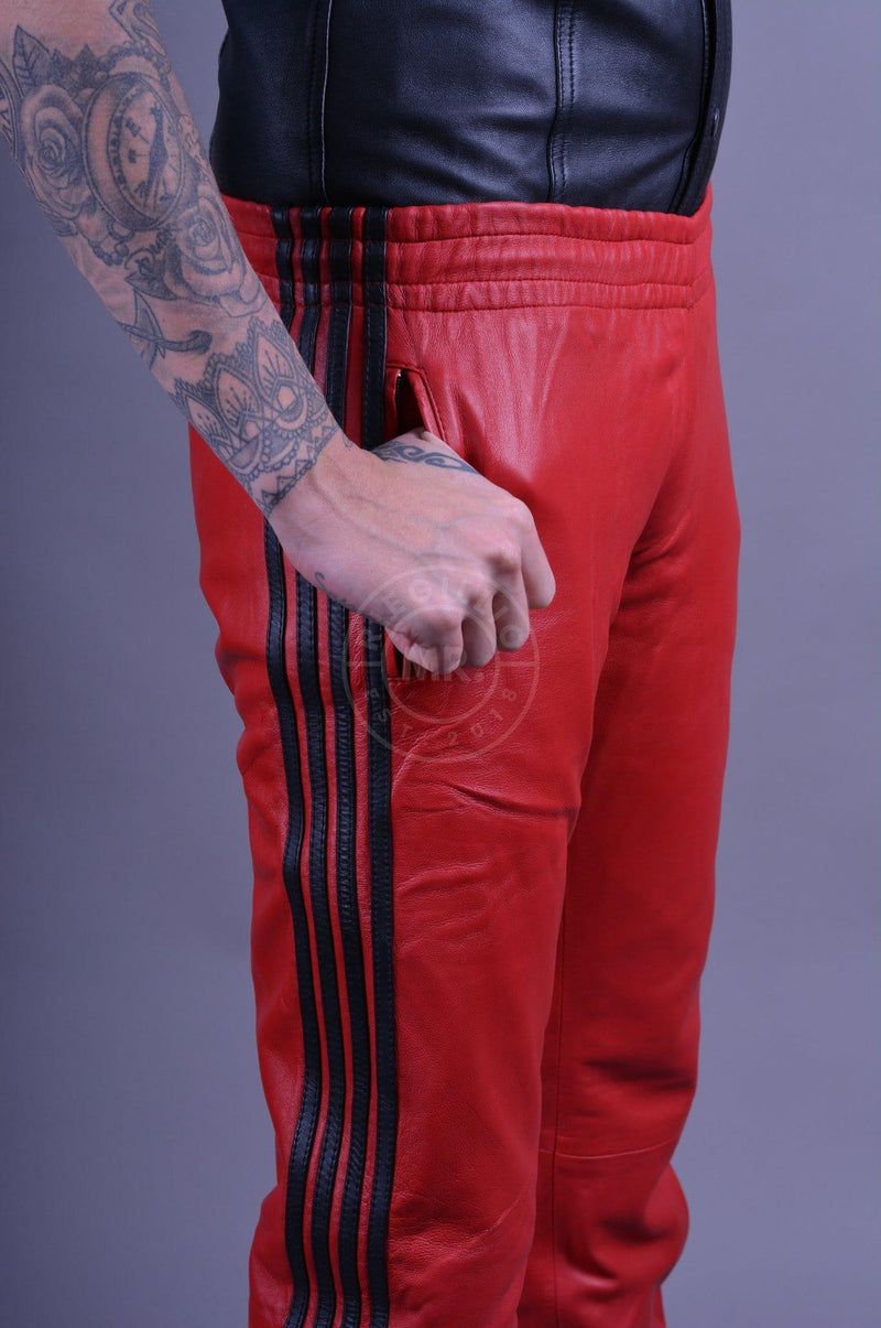 Leather 4 stripe Red - black stripes Pants Mr Riegillio