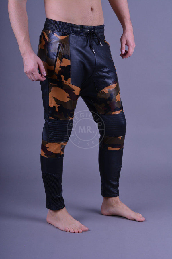 Leather Jogger Camo/Black Pants Mr Riegillio