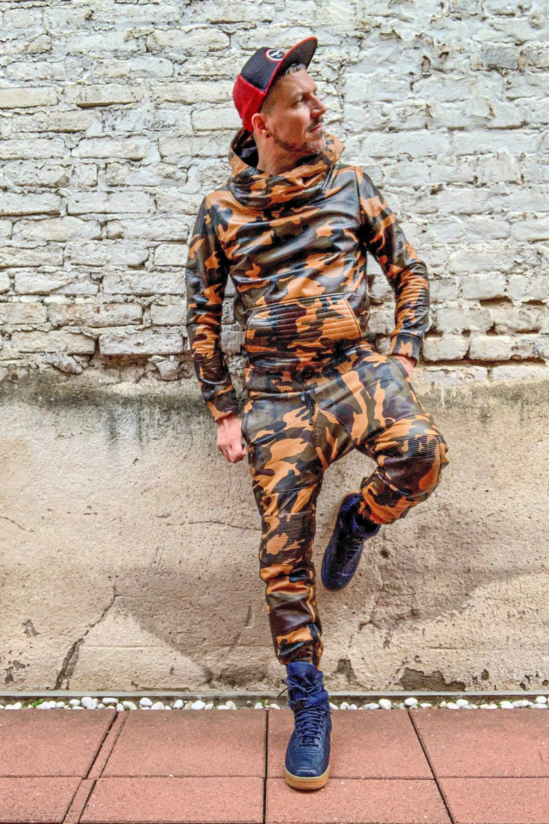 Full Camo leather jogger Pants Mr Riegillio