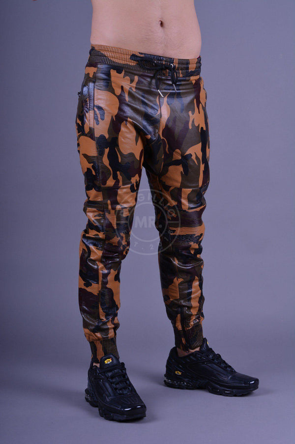 Leather Jogger full camo Pants Mr Riegillio