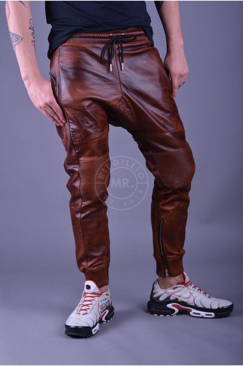 Leather Jogger Full Vintage Brown Pants Mr Riegillio