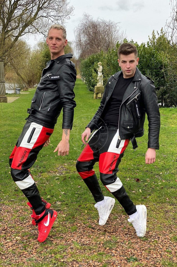 Leather Jogger Red Pants Mr Riegillio