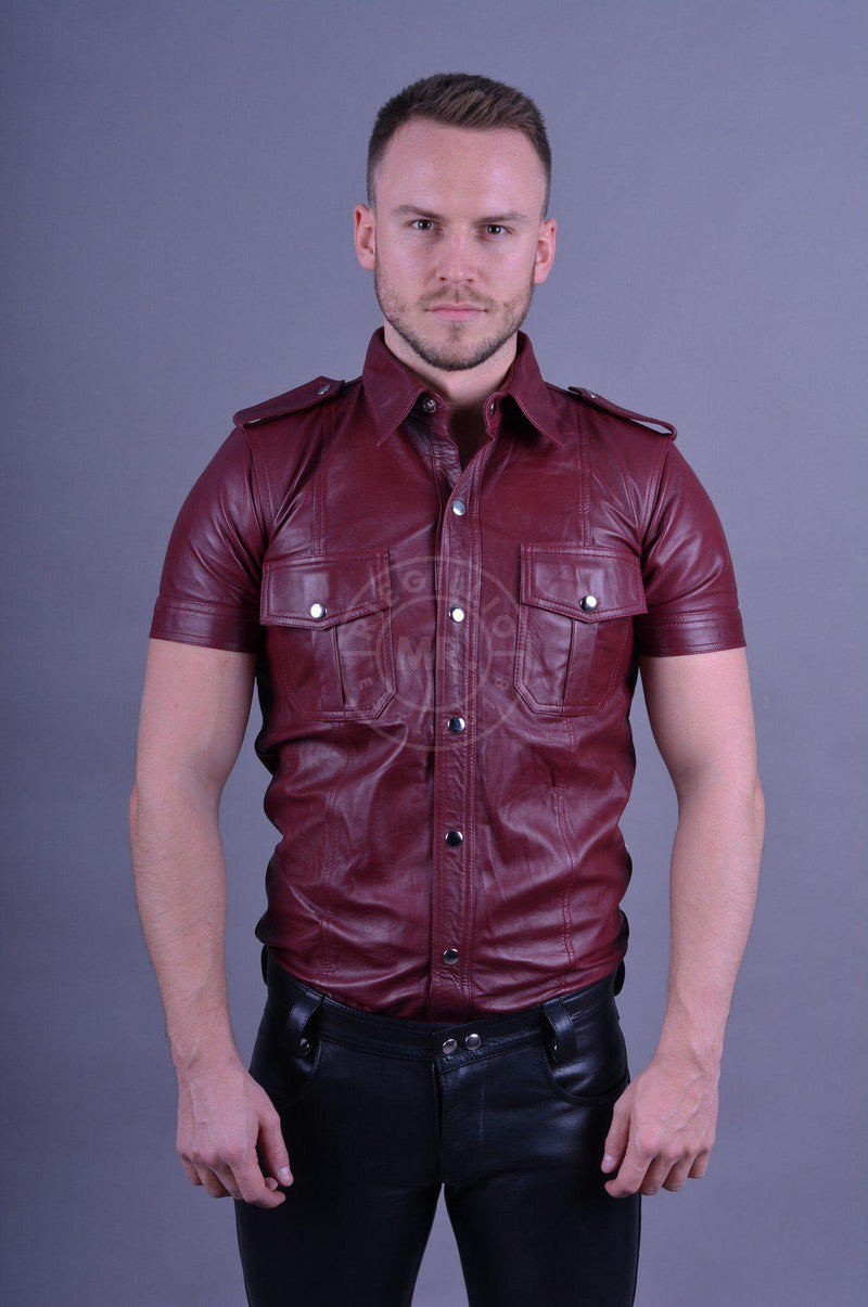 Leather Shirt Burgundy leather shirt Mr Riegillio