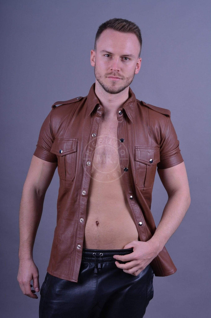 Leather Shirt Cinnamon Brown leather shirt Mr Riegillio