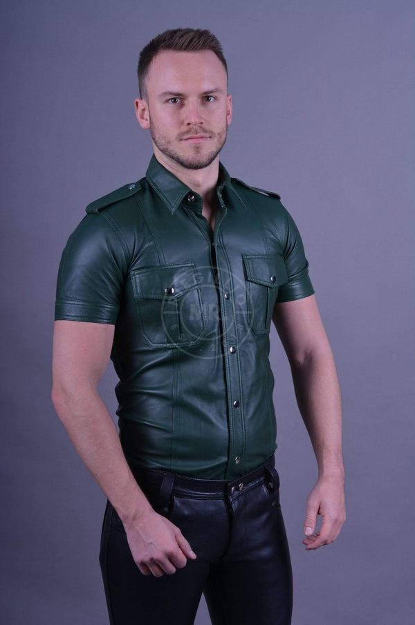 Leather Shirt Dark Green leather shirt Mr Riegillio