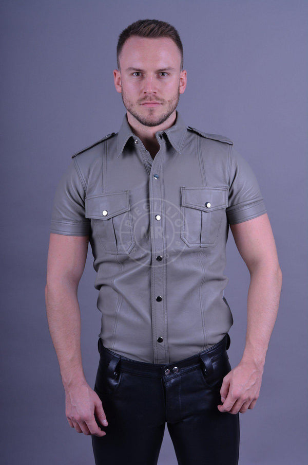 Leather Shirt Grey leather shirt Mr Riegillio