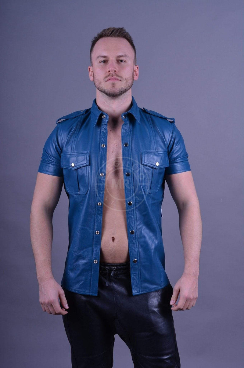 Leather Shirt Jeans Blue leather shirt Mr Riegillio