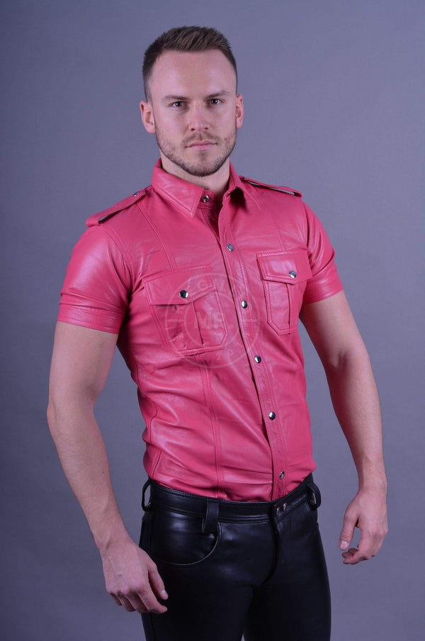 Leather Shirt Pink leather shirt Mr Riegillio