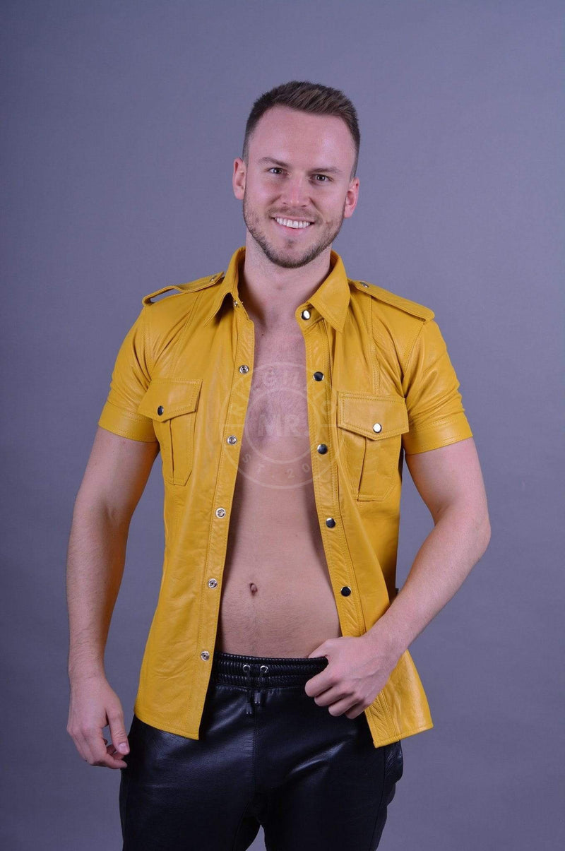 Leather Shirt Yellow leather shirt Mr Riegillio