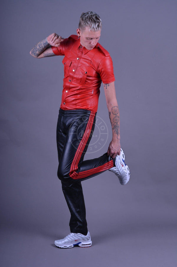 Leather Track Pants Black - Red stripes Pants Mr Riegillio