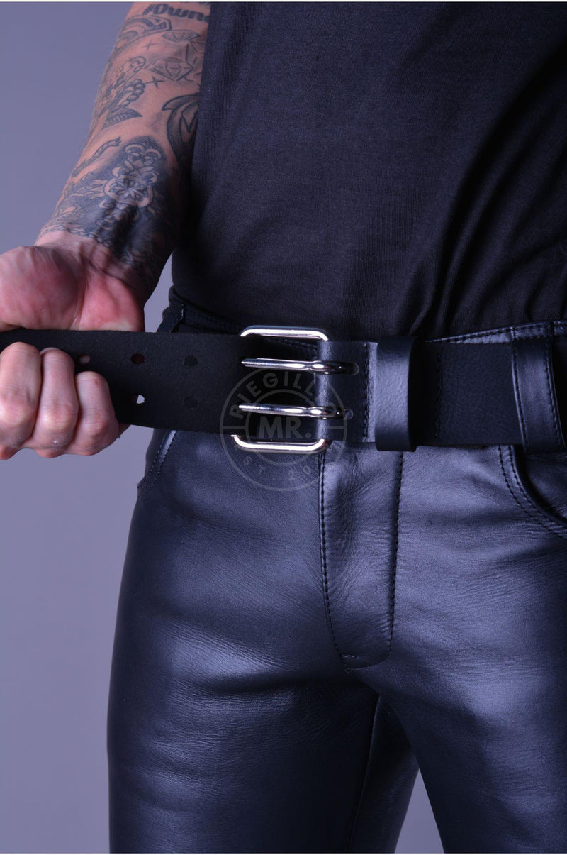 Mister B Leather Belt 5 cm Double Thorn - Black Belt Mister B