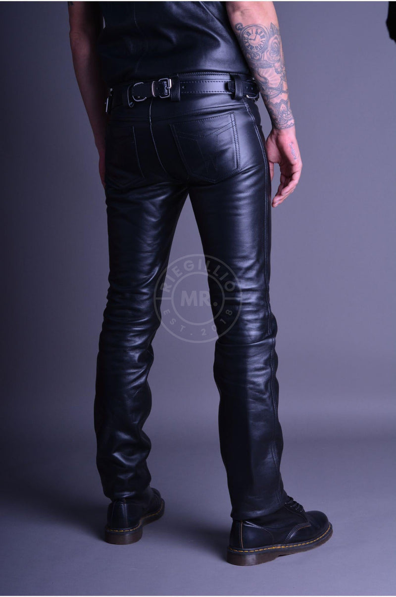 Mister B Leather Jeans Buttons Pants Mister B