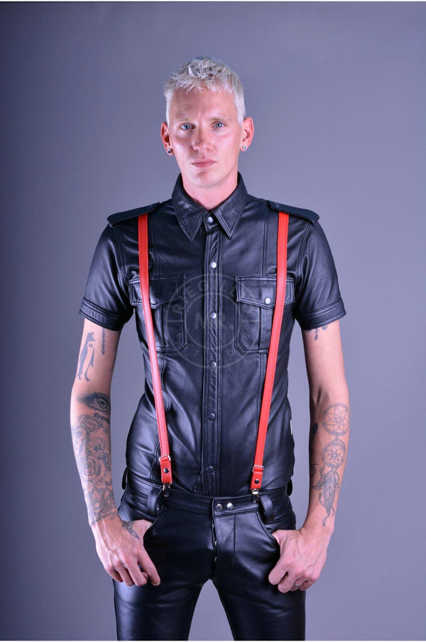 Mister B Leather Suspenders - Red Suspenders Mister B