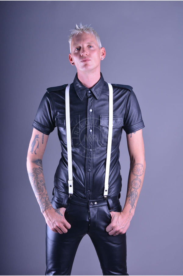 Mister B Leather Suspenders - White Suspenders Mister B