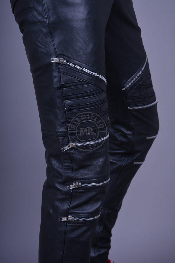 Leather zipper pants by MR. Riegillio