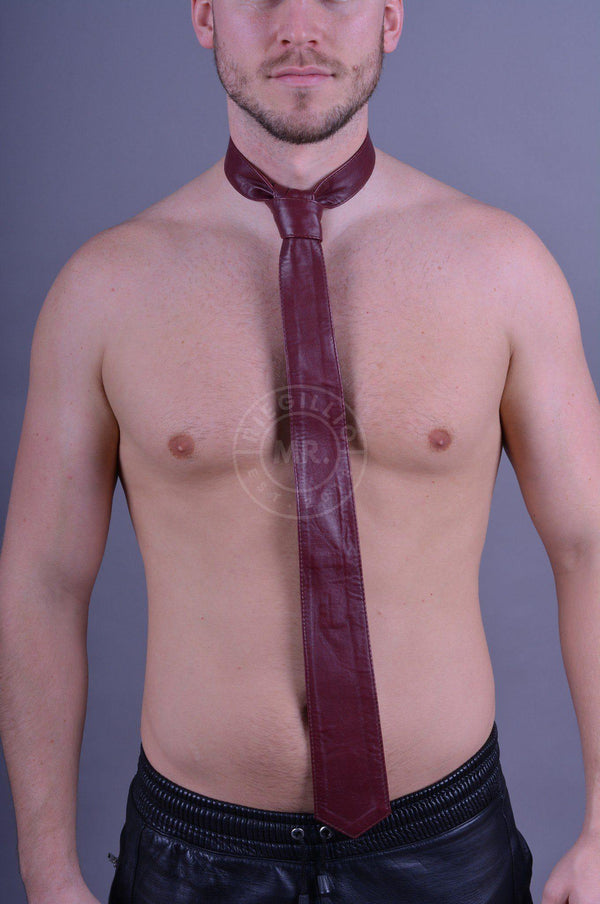 Original Mr Riegillio Leather Tie - Burgundy Tie Mr Riegillio
