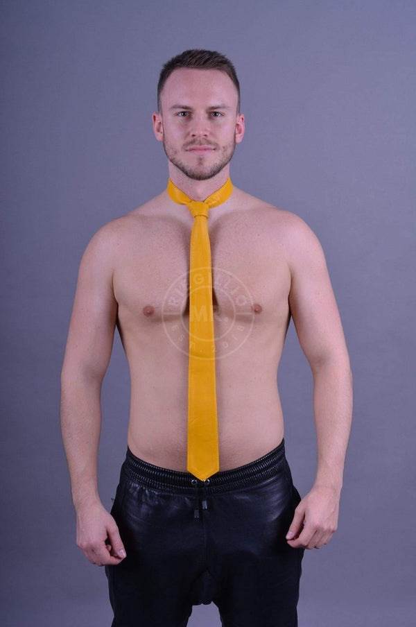 Original Mr Riegillio Leather Tie - Yellow Tie Mr Riegillio