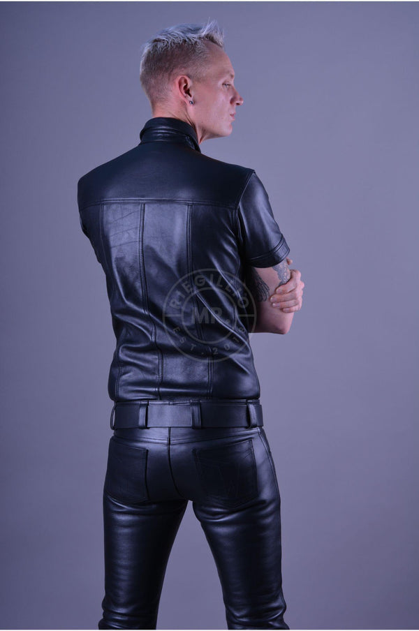 Plain leather shirt black leather shirt Mr Riegillio