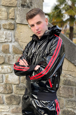 PVC Tracksuit jacket with red stripes Jacket Mr Riegillio