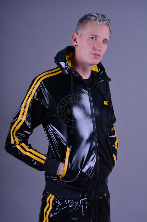 PVC Tracksuit jacket with yellow stripes Jacket Mr Riegillio