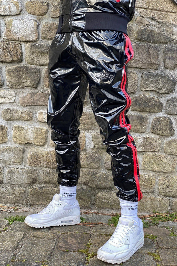 PVC Tracksuit pants with red stripes Pants Mr Riegillio
