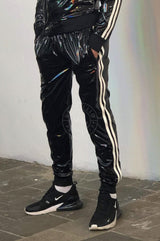 PVC Tracksuit pants with white stripes Pants Mr Riegillio